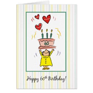 60.o Torta y corazones de cumpleaños para la mujer Tarjeta De Felicitación
