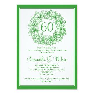 60.o verde elegante de los rosas del vintage del invitación 12,7 x 17,8 cm