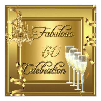 60 oro fabuloso Champán de la celebración 60.a Invitación 13,3 Cm X 13,3cm