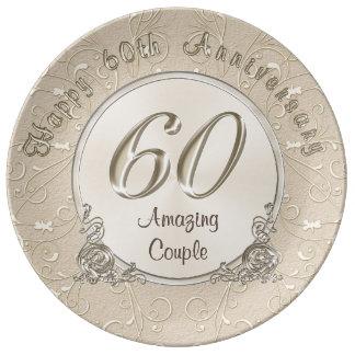 60.os regalos felices del aniversario de boda plato de porcelana