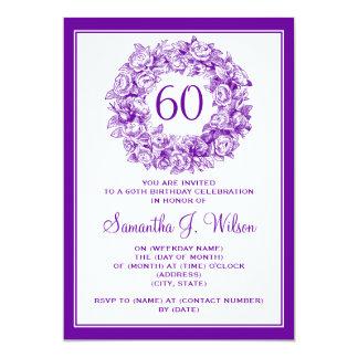 60.os rosas elegantes del vintage del cumpleaños invitación 12,7 x 17,8 cm