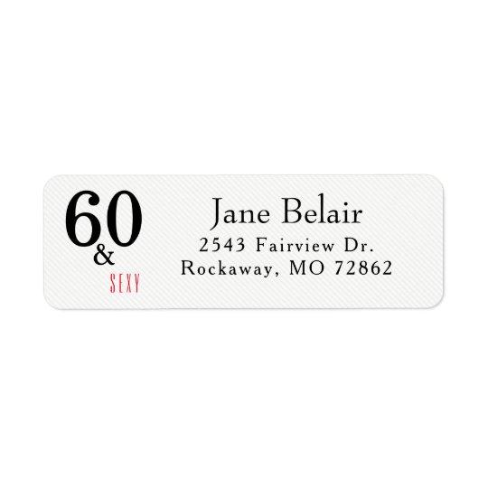 60 y etiqueta atractiva del remite del cumpleaños