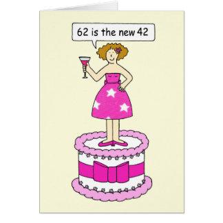 62.o Humor del cumpleaños para ella, señora en una Tarjeta De Felicitación
