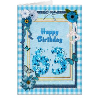 63.o Cumpleaños con un efecto del libro de Tarjeta De Felicitación