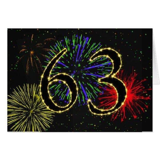 63.o Tarjeta de cumpleaños con los fuegos