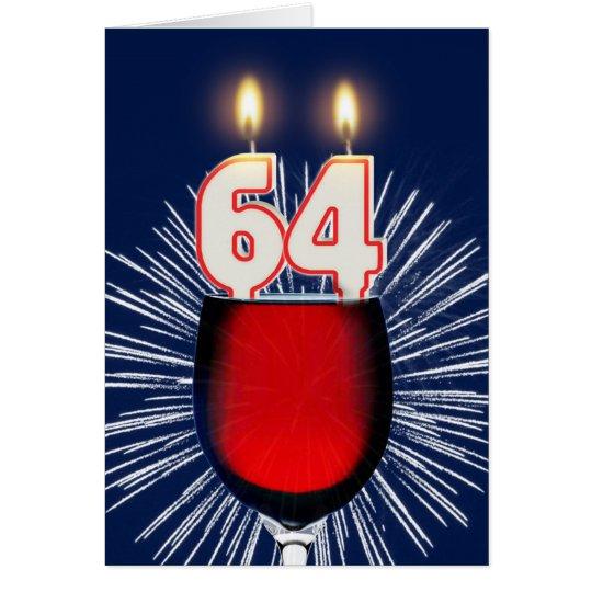 64.o Cumpleaños con el vino y las velas Tarjeta De Felicitación