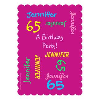 65 años de cumpleaños de invitación joven de la