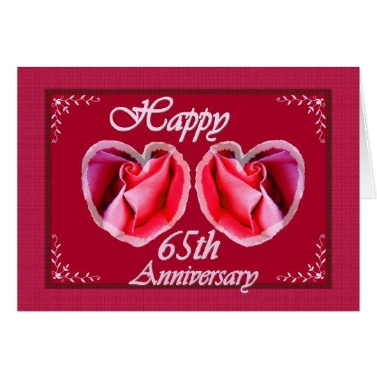 65.o Corazón llenado helecho del aniversario de Tarjeta De Felicitación
