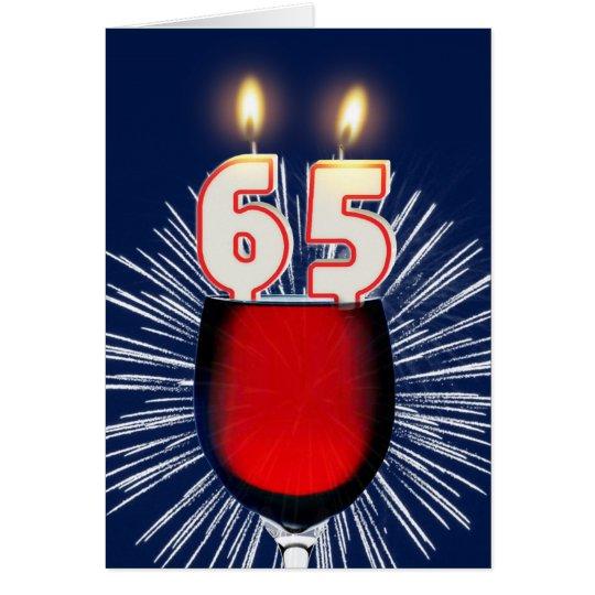 65.o Cumpleaños con el vino y las velas Tarjeta De Felicitación