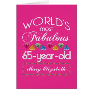 65.o Cumpleaños la mayoría del rosa colorido Tarjeta De Felicitación