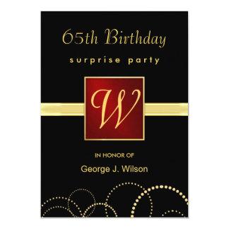 65.o Fiesta de sorpresa del cumpleaños - monograma Invitación 12,7 X 17,8 Cm