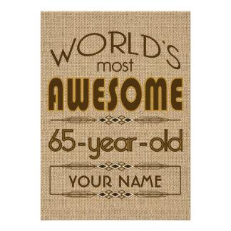 65 o Mundo de la celebración del cumpleaños mejor Invitacion Personalizada