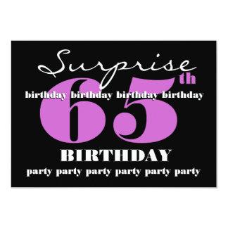 65.o Plantilla púrpura de la fiesta de cumpleaños Invitación 12,7 X 17,8 Cm