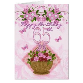 65.o Señora del cumpleaños, rosas y flores Tarjeta De Felicitación