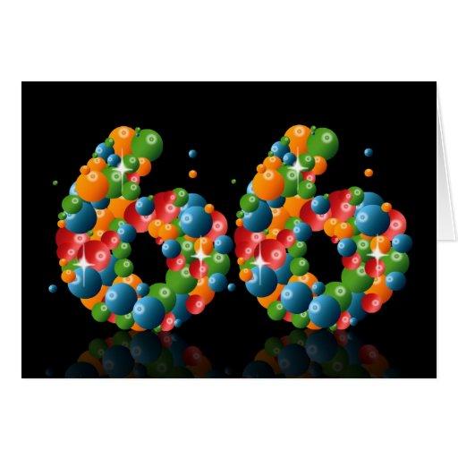 66.o cumpleaños con los números formados de bolas felicitacion