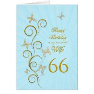 66.o cumpleaños de la esposa con las mariposas de tarjeta de felicitación