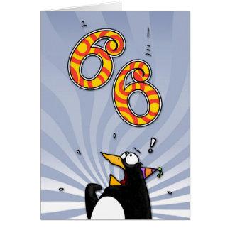 66.o cumpleaños - tarjeta de la sorpresa del pingü