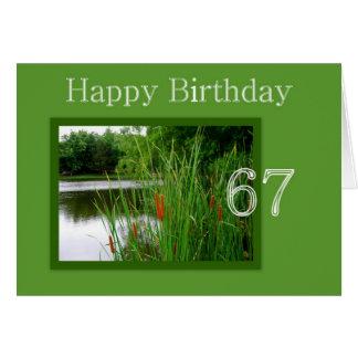67.o Colas de gato del feliz cumpleaños en la Tarjeta De Felicitación