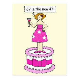 67.o Señora del cumpleaños en un humor de la edad Postal