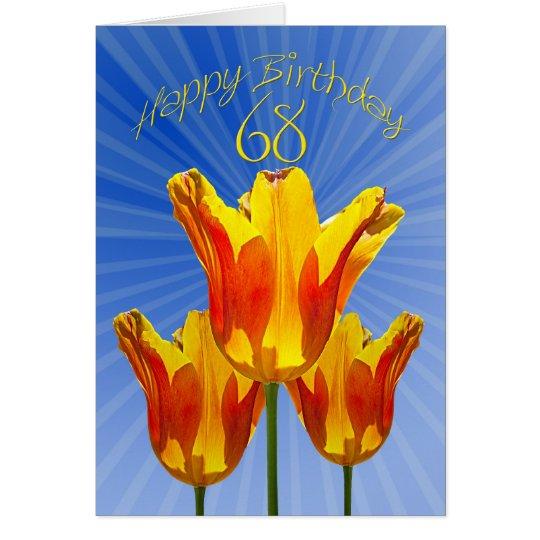 68.o Tarjeta de cumpleaños, tulipanes por completo