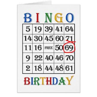 69.o Tarjeta del bingo del cumpleaños