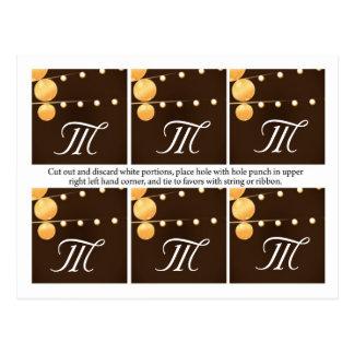 6 linternas de papel de las etiquetas del favor en postal