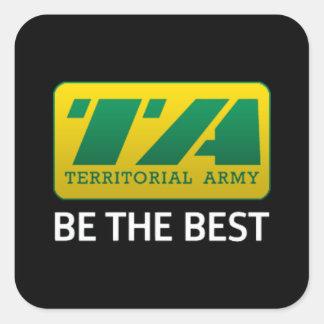 6 pegatinas del ejército territorial de x pegatina cuadrada