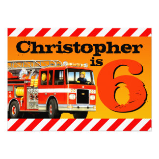6ta fiesta de cumpleaños del coche de bomberos invitacion personal
