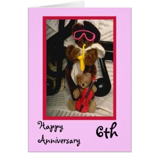 6to aniversario feliz, personalizable tarjeta de felicitación