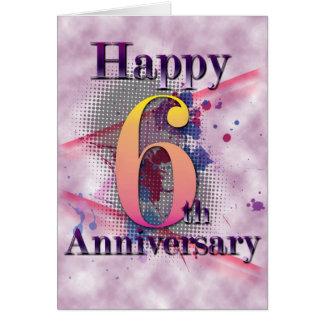6to aniversario feliz (tarjeta del aniversario) tarjeta de felicitación