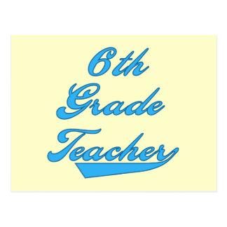 6to Camisetas y regalos azules del profesor del gr Tarjetas Postales