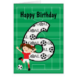 6to Chica rojo y blanco 1 del cumpleaños del fútbo Felicitación