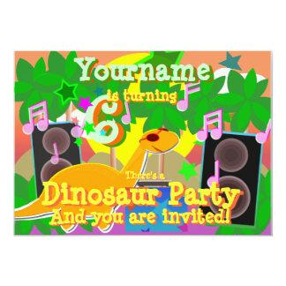6to El dinosaurio fresco DJ del cumpleaños va de Invitación 12,7 X 17,8 Cm