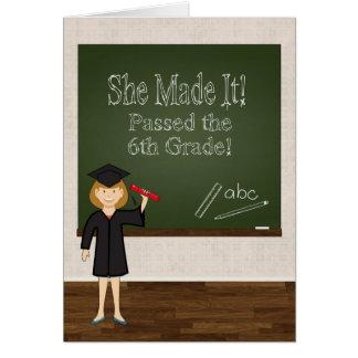 6to Graduado del grado con el chica y la pizarra Tarjeta De Felicitación