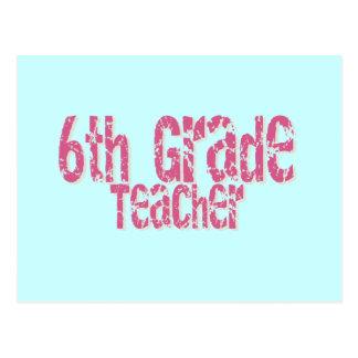 6to profesor apenado del grado del texto rosado postal