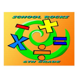 6to Rocas del grado - símbolos de la matemáticas Postal