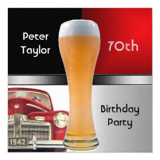 70.a cerveza roja retra roja para hombre del coche invitación 13,3 cm x 13,3cm