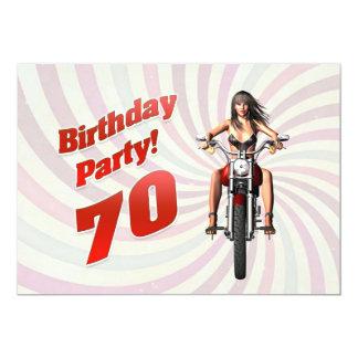 70.a fiesta de cumpleaños con un chica en una moto invitación 12,7 x 17,8 cm