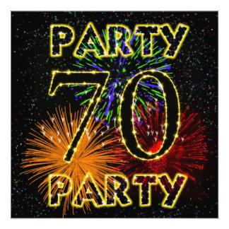 70.a invitación de la fiesta de cumpleaños con los