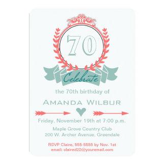 70.a invitación del cumpleaños del azul coralino
