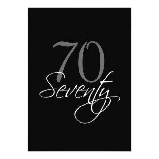 70.a invitación del cumpleaños del gris negro