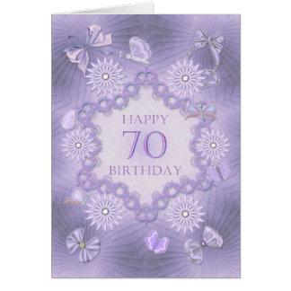 70.a tarjeta de cumpleaños con las flores de la