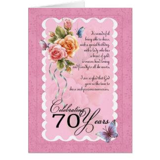 70.a tarjeta de felicitación del cumpleaños - rosa