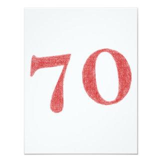 70 años de aniversario invitación 10,8 x 13,9 cm