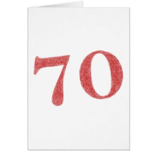 70 años de aniversario tarjeta pequeña
