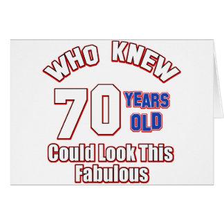 70 años del diseño del cumpleaños tarjeta de felicitación