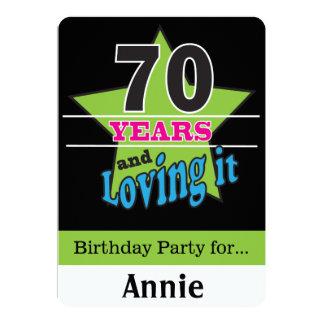 ¡70 años y amor de él! 70.o cumpleaños del   invitación 12,7 x 17,8 cm