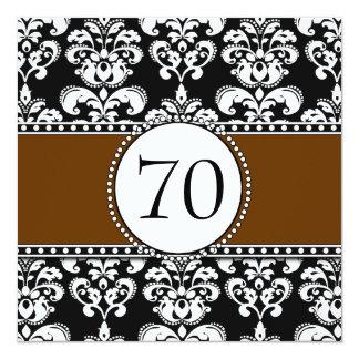 70.as invitaciones Brown del cumpleaños del Invitación 13,3 Cm X 13,3cm