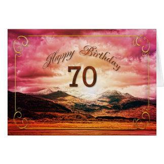 70 cumpleaños, puesta del sol sobre las montañas tarjeta de felicitación