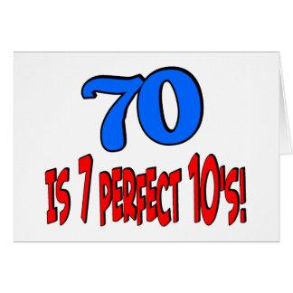 ¡70 es los 7 años 10 perfectos! AZUL Tarjeta De Felicitación